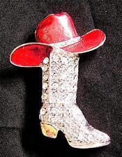 BROOCH/PIN Rhinestones & Enamel Western COWBOY BOOT & RED HAT