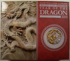 2012 AUSTRALIA YEAR OF THE DRAGON 1 oz. SILVER GILDED COIN BOX/COA
