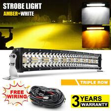 "22"" Curved 1200W Amber White Led Work Light Bar Driving Fog Lamp Off-roads Truck"