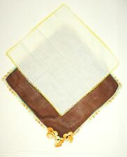 Vintage Lot of 2 Embroidered Edge Cotton Hankies