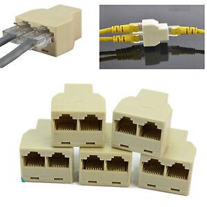 RJ45 Splitter Adapter Cat5e Network Ethernet 2 Way 3 Port Coupler /Pack of 5 Pcs