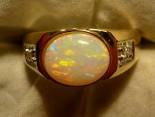 Mens Opal Ring 14ct Yellow Gold Natural Opal Solid & Diamond 10x8mm Oval #110391