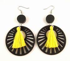 Yellow Cotton Tassels Lightweight Laser Cut Black Wood Dangle Earrings #852