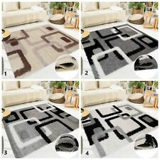 New Shaggy Modern Floor Rug Soft Touch Trendy Carpet Decorative Square Pattern