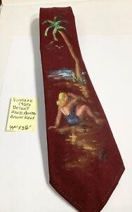 "Vintage 1950s Botany Hand Painted Beach Scene Neck Tie 44"" x 3 1/2"""