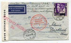 NL Indies WWII censored airmail cover Soerabaya Java to Switzerland 1941