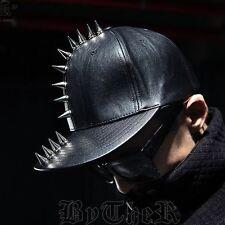 ByTheR Silver Metal Stud Custom Snapback Hat Black Leather Urban Baseball Cap AU