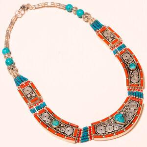 "Tibetan Turquoise Red Coral Gemstone Ethnic Jewelry Nepali Necklace 18"" NN-1457"