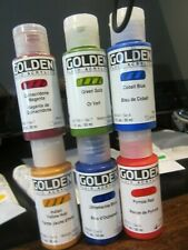 (6) GOLDEN FLUID /  ACRYLIC 6 DIFFERENT COLORS 1 oz. each  MOSTY HIGH SERIES