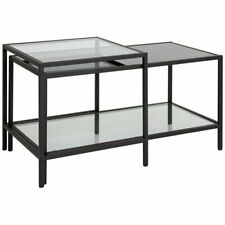 Flash Furniture Westerly 2 Piece Glass Top Coffee Table Set in Black