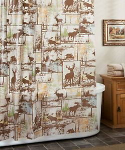 PEVA Deer Moose Shower Curtain Hunting Rustic Lodge Cabin Northwoods Brown
