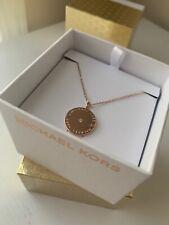 MICHAEL KORS MKJ2656791 Flat Disc Round Pendant Necklace Rose Gold