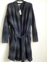 JAMES PERSE STRIPED ALPACA DRAWSTRING CARDIGAN WITH BELT, Charcoal, Size 3, $385