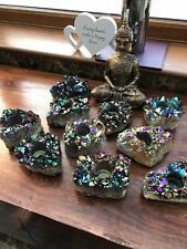 Rainbow Quartz, Aura, Titanium, Point, Cluster, Gemstone Candle Tealight Holder