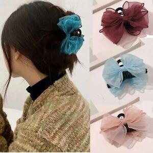 Bow Organza Hair Claw Lady Clip Ponytail Hairpin Girls Hair Accessories Barrette