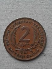British Carribean Territories Eastern Group 2 Cent coin 1961 Rare good Condition