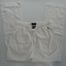 Polo Ralph Lauren M Linen Blend Drawstring Resort White Lounge Pant RL Pajama PJ