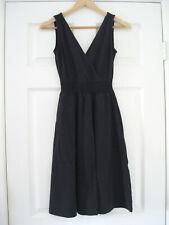 NWT LANDS END CANVAS Black Smocked Slub Cotton Jersey Dress, XXS 0, Pockets!