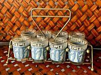 VINTAGE SHOT GLASS SET 8 WEDGWOOD BLUE JASPER WARE JEANETTE Gold Holder  ❤️sj17j