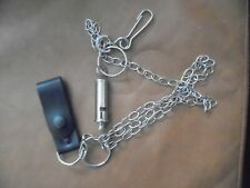 More details for  acme city, england police ,forces whistle with long  chain and wrist belt strap