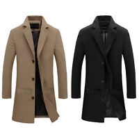 MENS TRENCH COAT CLASSIC SLIM FIT NOTCHED COLLAR STYLISH OVERCOAT OUTWEAR JACKET