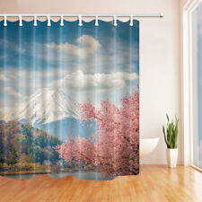 Snow Mountain and Cherry Tree Bathroom Shower Curtain Fabric w/12 Hooks 71*71in