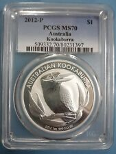 "2012 AUSTRALIAN KOOKABURRA BIRD 1 OZ SILVER COIN ""BU"" PCGS MS70"