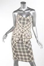 NATHAN JENDEN Black White Plaid Strapless Peplum Ruffle Bustle Pencil Dress 4
