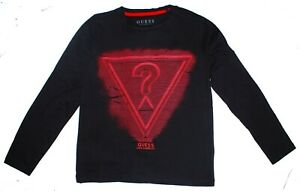 Guess Girls Black Round Neck Long Sleeves Graphic LOGO Top T shirt 7 8 10 12 14