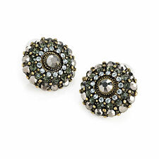 Burnished Gold Round Stud Earrings Ladies Fashion Jewellery Black Glass