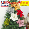 Large Artificial Glitter Christmas Flowers Poinsettia Tree Decor Wedding Party
