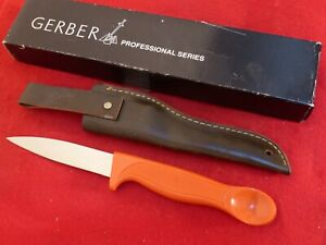 vintage Gerber USA made RARE orange mint in box fillet knife & leather sheath