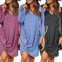 Womens Casual Solid Ladies Dress Dresses Party Long Sleeve Maxi V Neck Long