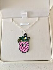 Pineapple enamelled silver plated necklace