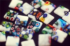 Lots 50pcs Square Glass White Millefiori Beads Spacer Craft Findings 12mm Charms