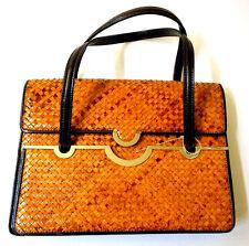 FIRENZE INOUE Original Auth. Vintage Purse Hand Bag Woven Basketry Brown Orange