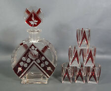 ART DECO KARL PALDA CZECH CRYSTAL GLASS RUBY ENAMEL CUT DECANTER SET 6 TUMBLERS