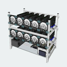 12 GPU Open Air Mining Aluminum Rig Stackable Frame Case Holder For ETH Ethereum