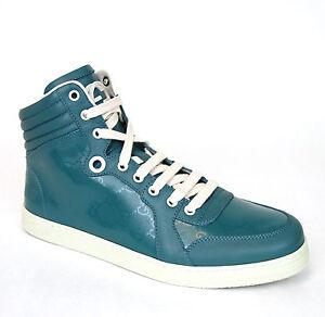New Authentic Gucci Mens GG Imprime High-top Sneakers, Aqua, 343135 4715