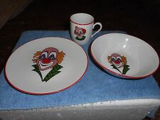 Vtg CIRCUS CLOWN PLATE CUP & BOWL SET BAREUTHER WALDSASSEN BAVARIA GERMANY #133