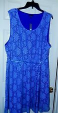 Gorgeous Apt. 9 Woman Floral Lace Layer Dress w Satin Tie-3X, Lined   NWT $60