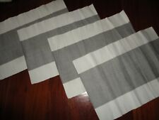 POTTERY BARN GRAY & WHITE WIDE STRIPE (4) PLACEMATS 13 X 19