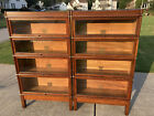 Matching Pair of Oak Globe Wernicke Barrister Bookcases