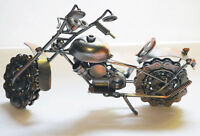 "Old Fashion Sculpture Motorcycle Bike Harley 10"" inch Hybrid Scrap Welded Metal"