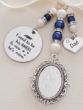 """Wedding Bouquet Photo Charm Locket """"I used to be his angel...""""  and """"dad"""" charm"""