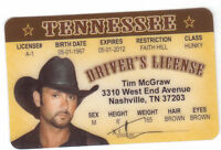 Country Music star Tim McGraw husband of Faith Hill  Drivers License