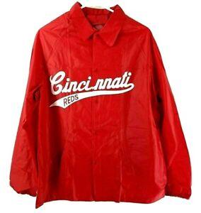 Vintage Cincinnati Reds Size Medium Snap Button Vinyl Rain Jacket Coat New