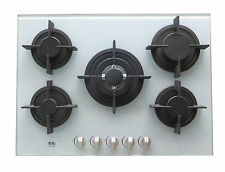 NJ-705G Built-in Gas Hob 5 burners 70cm White Glass Wok burner LPG use + NG Kit
