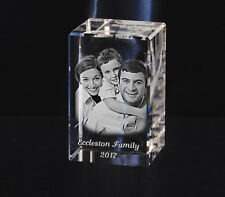Personalised 2D Laser Engraved Rectangular Crystal Paperweight