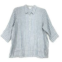 J Jill NWT Love 100% Linen Popover Tunic Petite L PL Striped 3/4 Sleeve NEW $89